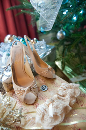 Brides shoes sitting under my tree at Callanwolde Roomsrevamped.com