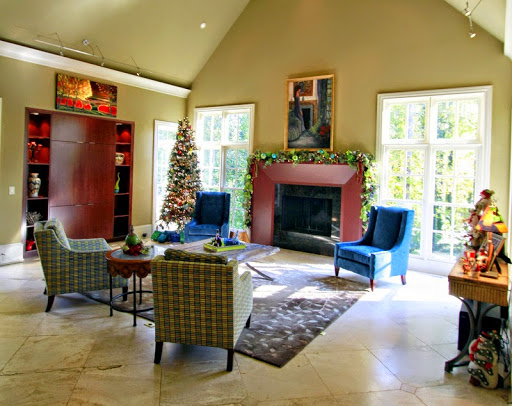 Blue green Christmas family room roomsrevamped.com