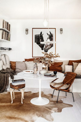 Animal art and animal skin in a room