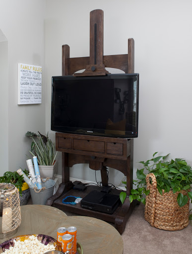 easel TV stand, Designed by Robin LaMonte of Rooms Revamped Interior Design