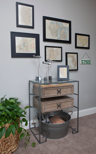 Reclaimed wood console. Designed by Robin LaMonte of Rooms Revamped Interior Design