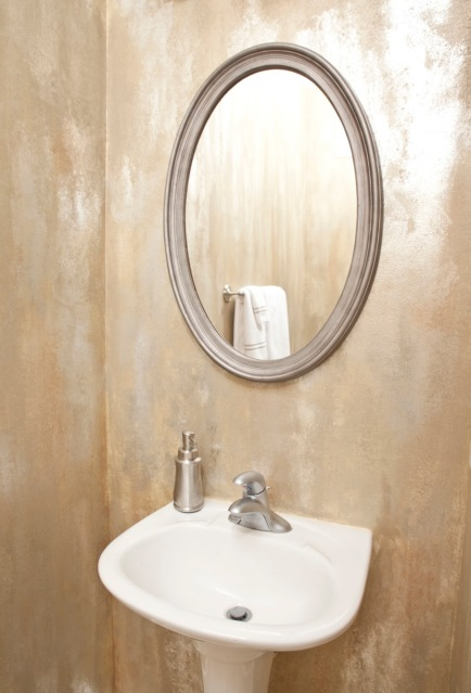 Faux painted powder room designed by Robin LaMonte of Rooms Revamped Interior Design