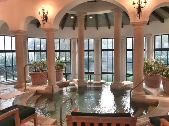 The heated indoor pool at the Spa.