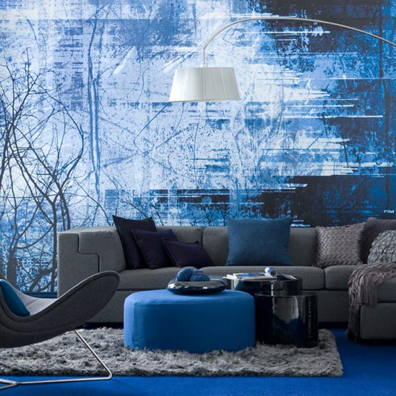 Monochromatic blue living room