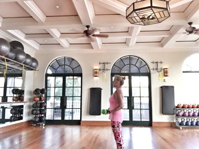 Robin LaMonte exercising alone at the Cloister on Sea Island