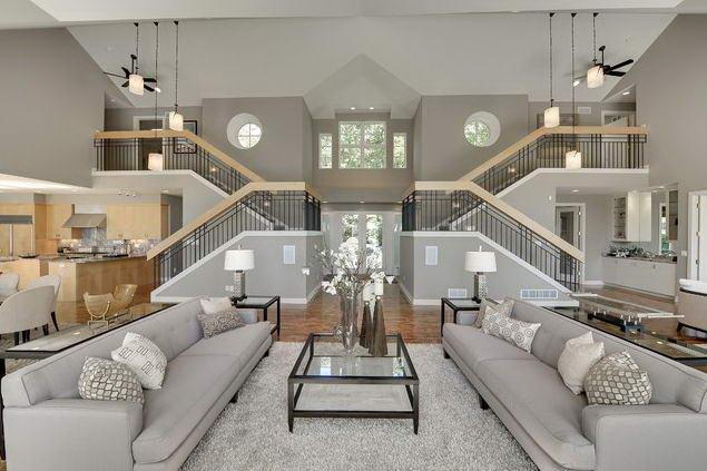 Monochromatic grey living room