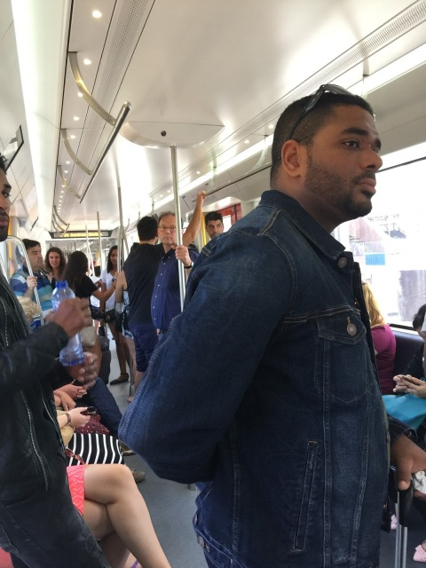 Robin LaMonte travelled on the Metro train in Amsterdam