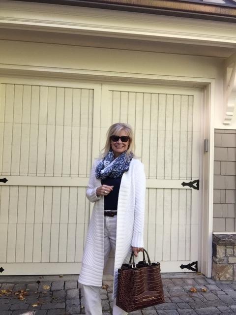 Robin LaMonte loves her long sweater.